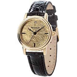 Yves Camani Gironde Women's Quartz Watch with Gold Dial Analogue Display and Black Leather Bracelet Yc1045