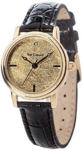 Yves Camani Gironde - Reloj de cuarzo para mujeres, con correa de cuero de color negro, esfera dorada