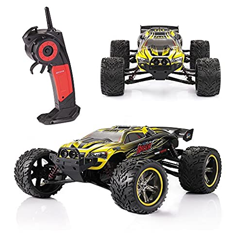 GPTOYS S912 Remote Racing Cars Truck Vechicles With 1/12 Scale Full Proportiona 2.4G Wireles Radio System 2WD Racing Electric Car Monster Truck Electric Speed 33mph Off-Road Truggy Drifting Christmas Gift Toy For Kids - Yellow