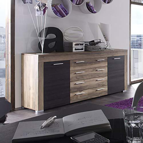 Kasalinea Sideboard Bahut modern, Farbe Nussbaum und dunkle Eiche Octave 2 (Dunkle Nussbaum-buffet)