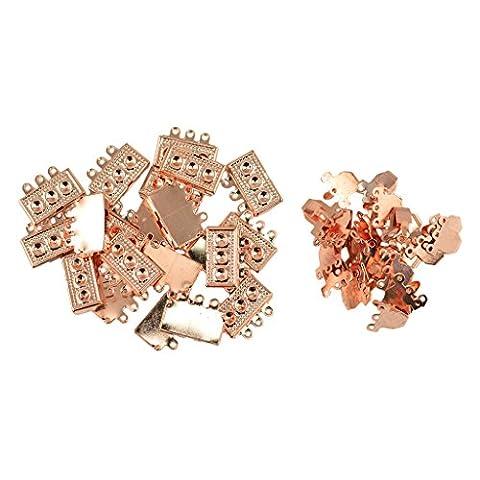 Sharplace 20pcs Metal Brass Filigree Box Clasp, 3 Strand Rectangle,