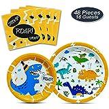 WERNNSAI Suministros Fiesta de Dinosaurio - Vajilla de Dinosaurio para Chicos Cumpleaños Baby Shower Boda Cenas Platos De Postre Servilletas Sirve 16 Personas 48 Piezas