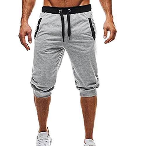 MOIKA Herren Sportshorts, Männer Sport Fitness Jogging Elastische Stretchy Bodybuilding Bermuda Jogginghose(L,Grau)