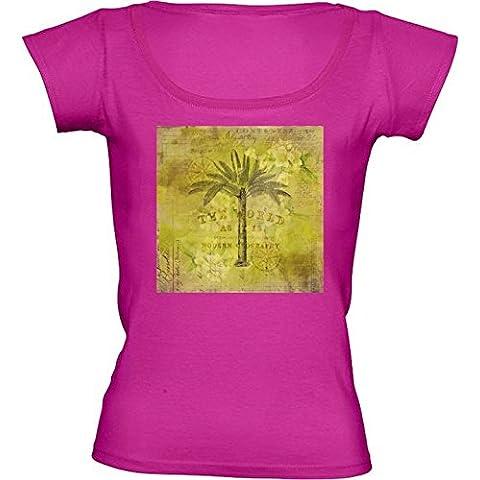 Camiseta Cuello Redondo para Mujer - Viaje Retro Del árbol De La Palma De La Vendimia by Andrea Haase