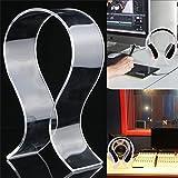 Interesting Transparent Acrylic Headphone Stand Head Mounted Earphone Desk Display Holder