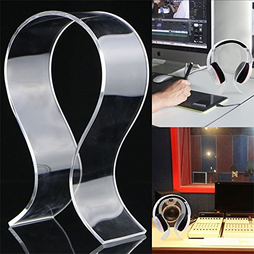 Interesting® Transparente Acryl Kopfhörer Stand Kopf montiert Kopfhörer Schreibtisch Display Halter