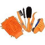 CkeyiN® Kit de herramientas multifunción de limpieza de la bici, 5 Cepillos diferentes Para llantas con Guante Especialmente adecuado para limpiar todas las partes de la Bicicleta