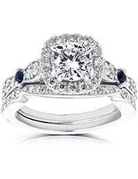 Para Siempre Brillante Moissanite Diamond y Sapphire novia SET 14/5quilates (de quilate) en 14K oro blanco _ 10.0
