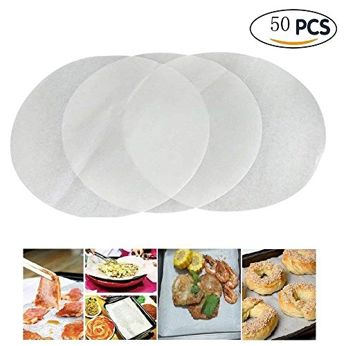 AbbyGirls - 50 unidades antiadherentes de papel para hornear círculos no tóxicos, dispensador de grasa, papel de pergamino para cocinar tartas o cocinas 50 Pc