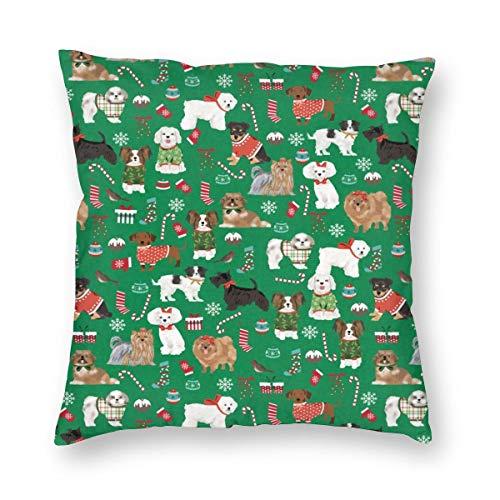 SMALL - Dog Christmas - Hunde in hässlichen Pullover, Weihnachten, Weihnachten, Holiday Design_933 Dekorative Kissenbezug Home Decor Kissenbezug Bunte 18x18inch