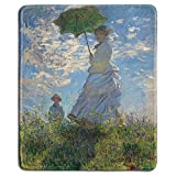 Art Mousepad - Natural Rubber Mouse Pad with Famous Fine Art Painting of Woman with a Parasol - Madame Monet and Her Son by Claude Monet - Stitched Edges - 9x7 inches