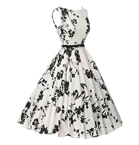 ♪ZEZKT♪Audrey Hepburn 50s Retro Vintage Bubble Skirt Rockabilly Swing Evening Kleider Blumen Festliches Kleid Petticoat Kleid Übergröße Rockabilly Cocktailkleid Große Größen Weiß