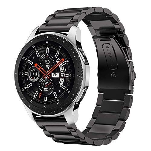 iBazal 22mm Armband Metallarmband Ersatz für Gear S3 Frontier/Classic,Galaxy Watch 46mm,Huawei GT/Honor Magic/2 Classic,Ticwatch Pro Metall Uhrenarmband Armbänder Edelstahl Band Herren - Schwarz