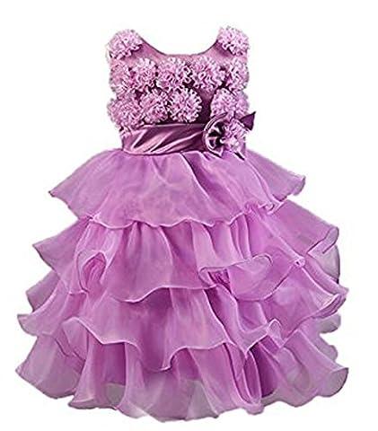 Lannorn Mädchen Kind Baby formale Hochzeit Brautjungfer Abendkleid Perle Pomp Prinzessin Kleid. (Prinzessin Gekräuselten)