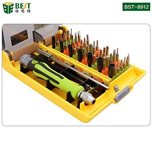 BEST TOOL - BST-8912 - Tragbares Universal Feinmechaniker Werkzeug-Set magnetisch - für Smartphone-/Tab-/Camera-/Laptop-/Uhren-/Computer-/Drucker-Reparatur - 45 Teile Aluminium Mobile-tool-box