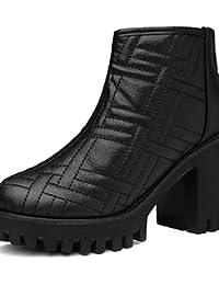 ZQ Zapatos de mujer-Tac¨®n Robusto-Tacones-Tacones-Oficina y Trabajo / Casual-Sint¨¦tico-Negro / Gris , gray-us5.5 / eu36 / uk3.5 / cn35 , gray-us5.5 / eu36 / uk3.5 / cn35