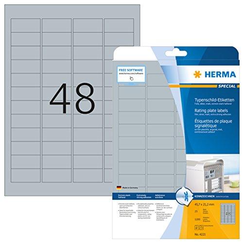 Herma 4221 Typenschild Folien-Etiketten wetterfest, silber (45,7 x 21,2 mm) 1.200 Aufkleber, 25 Blatt DIN A4 Klebefolie matt, bedruckbar, extrem stark selbstklebend