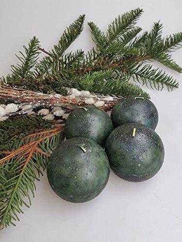 4 Kaheku Kugelkerzen tannengrün marmori 8cm Weihnachten Advent Adventskerzen