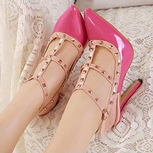 Women's Studded Patent Leather Contrast Stilettos&High Heel Pointed Toe Buckle Sandals T-Spangen Pumps mit Nieten rotrosa