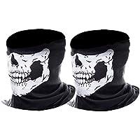 Máscara de Calavera Mascarilla Fantasma de Medio Cráneo de Motocicleta, (Negro, 2 Paquete)