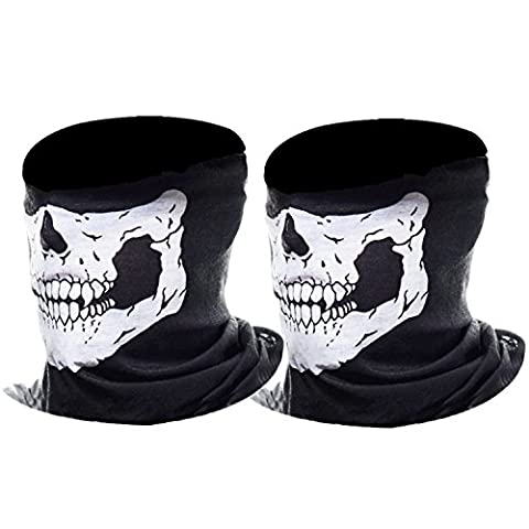 eBoot Half Skull Face Mask Motorcycle Face Mask Bandana Balaclava Headwear, 2 Pack (White)