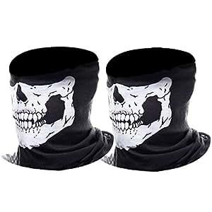 eBoot Ghost Maschera Mezzo Cranio Maschera Facciale Moto Maschera (Nero, 2 Pack)