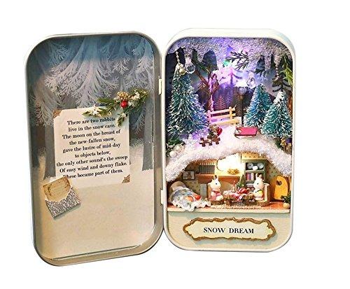 JOJOmay Los Regalos asombrosos 3D DIY Theater Box Miniatura Caja de LED Casa para Niños Chica Juguete Mini Secret World en la Caja de Lata ( Color : Snow Dream )