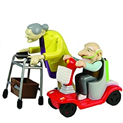 Rennen Oma und Opa, Aufziehspielzeug, Kunststoff, 2er Set - das Grannies Geschenk für Großeltern Aufziehfiguren mit Rollator und Mobil