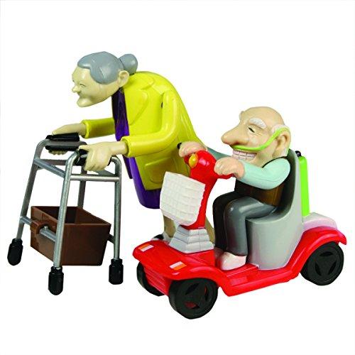 Bluw Rennen Oma und Opa, Aufziehspielzeug, Kunststoff, 2er Set - das Grannies Geschenk für Großeltern Aufziehfiguren mit Rollator und Mobil