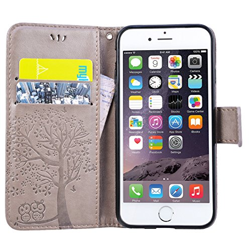 GrandEver iPhone 6 Plus / 6S Plus Ledertasche Hülle Schutzhülle Eule und Baum Retro Tasche Lederhülle mit Handschlaufe Scratch Ledercase Schale Umschlag Stil Flip Wallet Case Cover mit Weiche Silikon  Grau