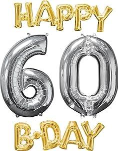 Amscan International 3606701 Happy Birthday 6-0 - Globo, Color Dorado y Plateado