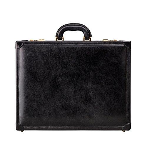 Maxwell Scott Bags® Attaché-Case en Cuir Marron Foncé (Buroni) Noir
