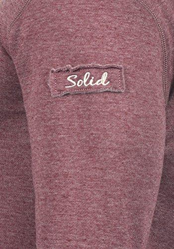 SOLID TripStrip Herren Kapuzenpullover Hoodie Sweatshirt aus hochwertiger Baumwollmischung, Größe:M, Farbe:Wine Red Melange (8985) - 4
