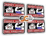 Aufkleber, französische Aufschrift: Alarme Video Überwachung (Alarm, schwarz, 4 Sticker), selbstklebend