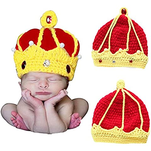 Hrph Nuevo hecho a mano de ganchillo corona del rey del bebé Cristal Perlas Gorros Sombreros recién nacido
