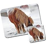 Poni y poni alfombrilla de ratón/Pad y posavasos Brown Pony In White Snow