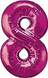 XXL Zahlen Folienballons - Mit Helium gefüllt - Pink 8 - Bunte Zahlenballons für Geburtstag Jubiläum Silvester