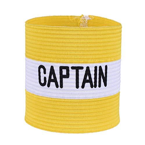 VerteLife Kapitänsband Spielführerbinde für Fußball und Rugby, Gummielastische Armbinde Kapitän Armbinde, Captains Armband für Erwachsene und Kinder - Gelb, Einheitsgröße
