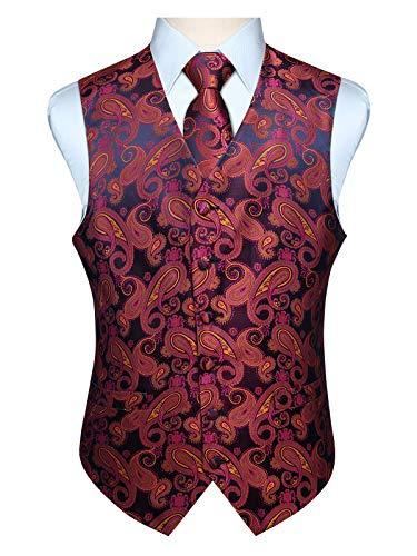 Hisdern Manner Paisley Floral Jacquard Weste & Krawatte und Einstecktuch Weste Anzug Set, Rosa und Gelb, Gr.-M (Brust 44 Zoll) -
