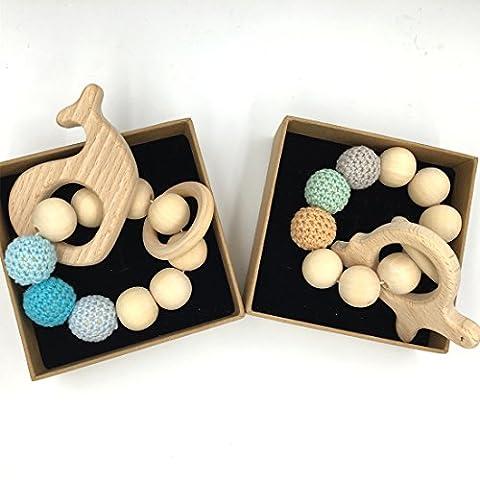 Coskiss 2Pcs Bébé Bracelet en bois Teether Amigurumi Eco-friendly Baby Dentition Jouets Enfant Chew Bangle Shaped Rattle Cadeau de Noël (Couleur