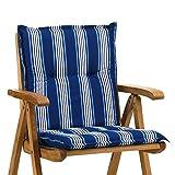 2 Niederlehner Sessel Auflagen Rio 20581-110 blau-weiß gestreift 98x49 cm