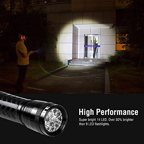 LE-2-Pack-LED-Torch-14-LEDs-Handheld-Flashlights-Waterproof-IP44-6-AAA-Batteries-Included