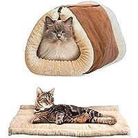 Happy FD 2en 1túnel alfombrilla de lujo cojín gato de mascota Perro Cachorro calefacción forro polar sofá cama manta pad