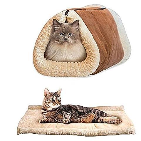 Happy Fd 2 en 1 Pet Tunnel Coussin de luxe Mat Cat Dog Puppy Chauffage Fleece Sofa Bed Blanket Pad