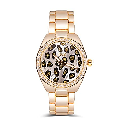 Yaki Damen-armbanduhr leopardenmuster in gold, analoger Anzeige, glitzer und silber mit Swarovski Strass