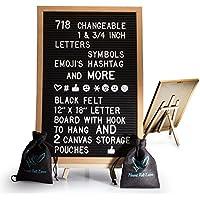 Fieltro Negro Carta Junta con caballete 12 x 18 | 718 intercambiables caracteres incluye 1 Inch y ¾ letras, símbolos, Emojis Hashtag y más | gancho para colgar | 2 lienzo bolsas de almacenamiento
