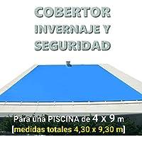 Cobertor, lona, cubierta, toldo,… de invierno para cubrir una piscina de 4 x 9 m. Medidas totales del cobertor: 4,30 x 9,30 m. Incluye: Cobertor + Anclajes escamoteables 100% inox + Tensores de 8 mm + Saco de almacenaje. Color: Azul y negro en el reverso. Opacidad total – Forma: rectangular.