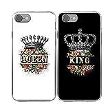 iPhone 7/8 Couple Cas-TTOTT 2x Floral Roi Reine Couronne Mince En Silicone Pare-Chérie Amoureux Petit Ami Copine Couple Assorti Housse de Coque pour iPhone 7 4.7 pouces