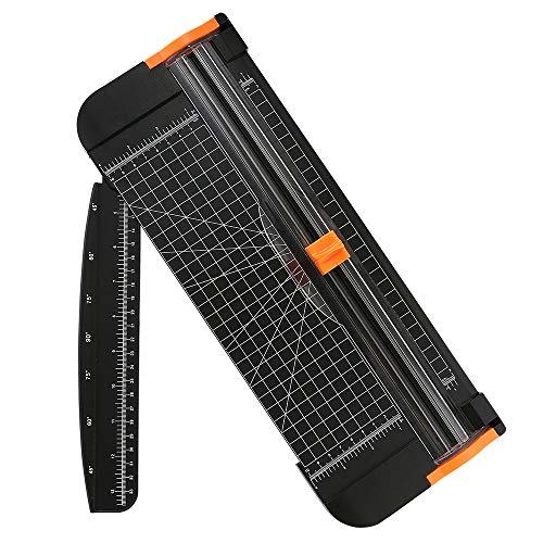 flintronic Massicot A4, guillotine portable coupe-papier 38CM, outil de scrapbooking avec protection de sécurité automatique (règle latérale incluse) pour papier craft, coupons, étiquettes et cartes