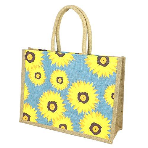 Bedruckte Tasche aus Jute/ Sackleinen, sonnenblume, Shopping Bag